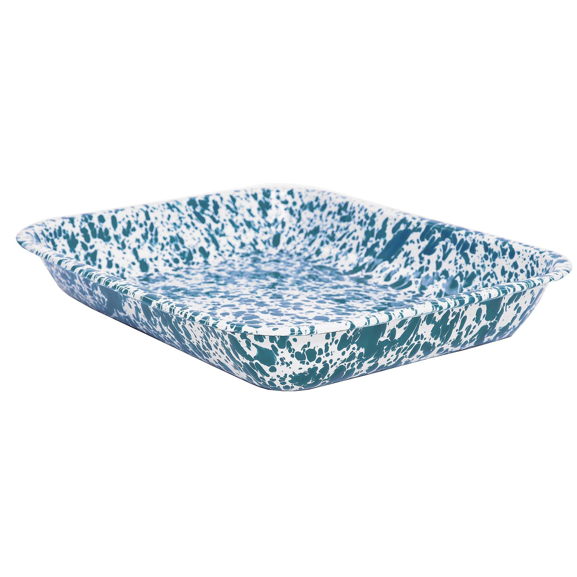 Enamelware Large Roasting Pan - Turquoise Marble