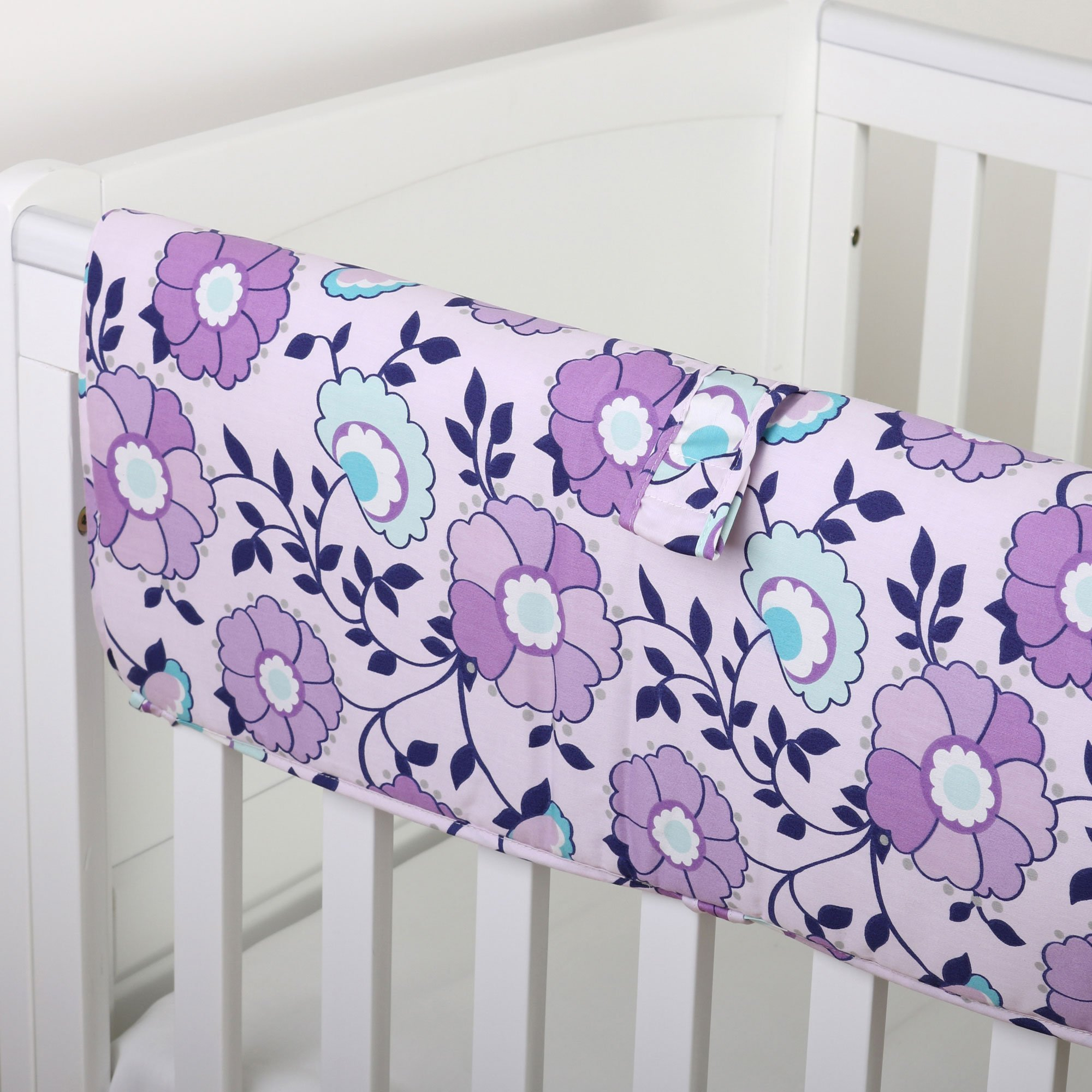 Zoe Purple Floral Crib Rail Guard by The Peanut Shell