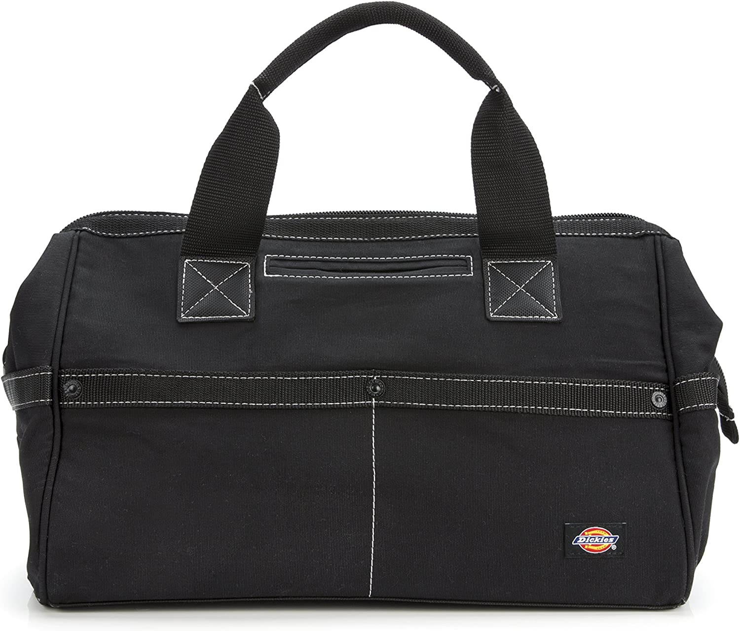 Dickies 16-Inch Durable Canvas Work Bag for Painters, Carpenters, and Builders, Heavy-Duty Zipper, Reinforced Handles, Exterior Pockets, Black