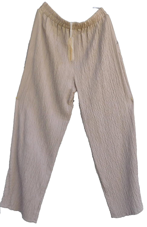 beige Damen Hose Lagenlook Gummibund Baumwolle CRASH-OPTIk 44-46 48-50 mint