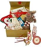 Vigilia di Natale tradizionale scatola contenente una collezione di oggetti come Magic Renna Cibo, calza di Natale, Chiave Magica Renna Peluche, Libro di Fiabe, Vigilia di Natale Lettera Busta da Babbo Natale, per Polo Nord e una bottiglia di latte in miniatura