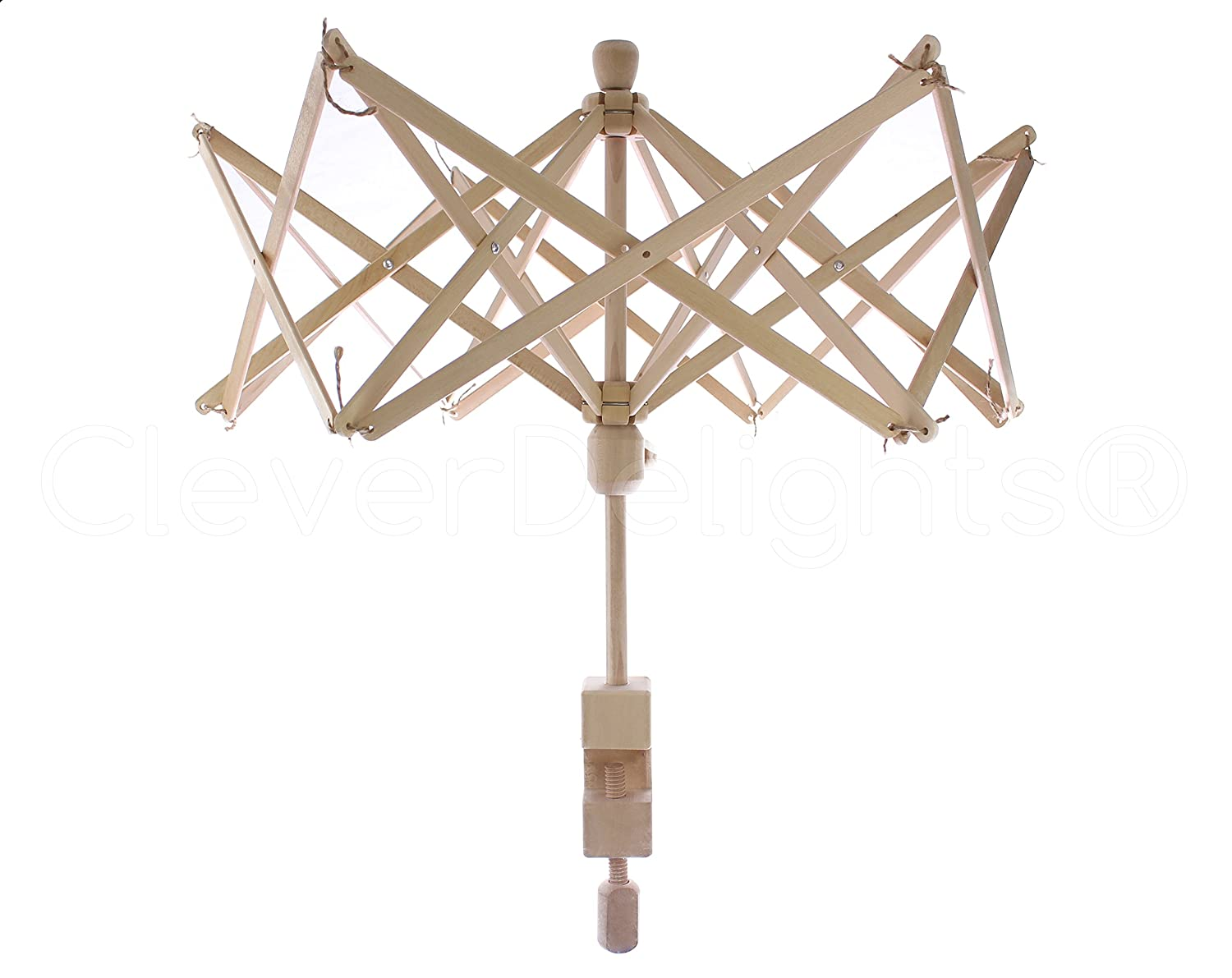 CleverDelights Wooden Umbrella Swift Yarn Winder - 24 - Hand Operated Winder – Wool String Hank Yarn 4336905504
