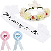 4 Pieces Baby Shower Kits Include Baby Shower Sash, Mommy Daddy to be Badge Button Pin Kits and Flower Crown for Baby Shower Decoration Gender Reveal Baby Sprinkle Welcome Baby
