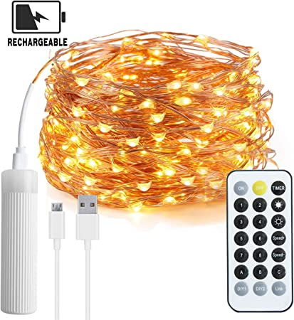2Set 10FT Battery Powered Copper Wire 30Led String Fairy Light Pure /& Warm White