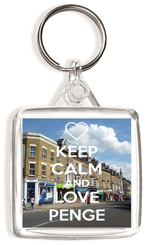 Square Keyring Keep Calm and Love Penge