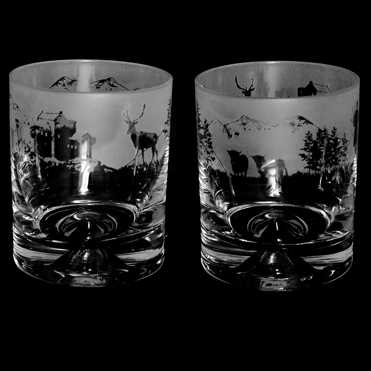Fishing Scene 30cl Animo Glass Whiskey Tumbler by The Milford Collection