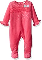Petit Lem Baby Girls' Hot Pink Velour Footie With Ruffles and Foil