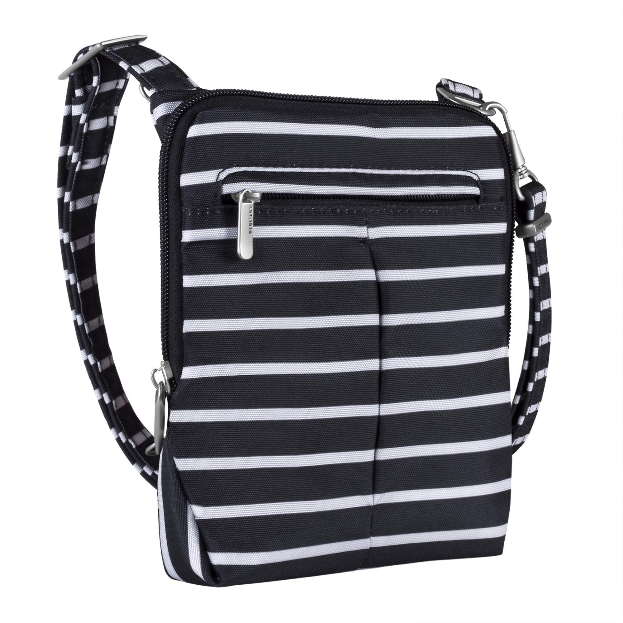 Travelon Anti-Theft Classic Light Mini Crossbody Bag (Black w/White Stripe)
