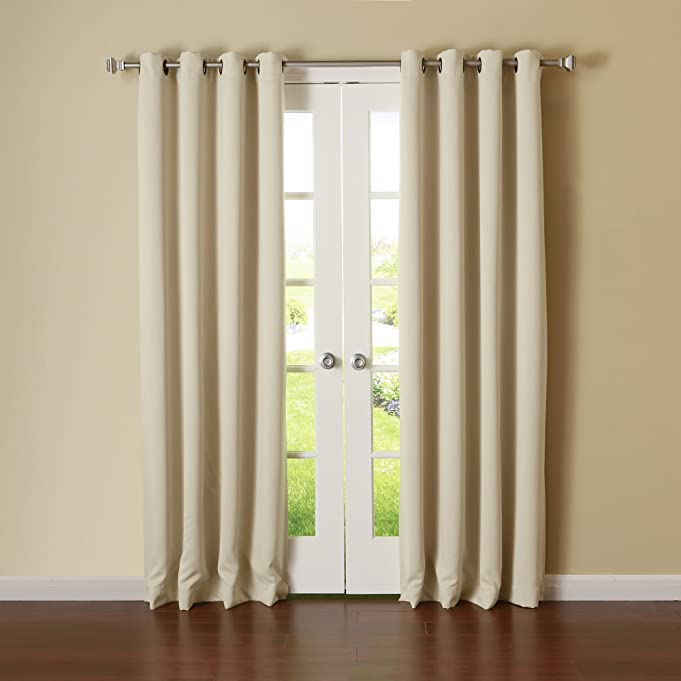 """Best Home Fashion Thermal Insulated Blackout Curtains - Antique Bronze Grommet Top - Beige - 52""""W x 84""""L - (Set of 2 Panels)"""
