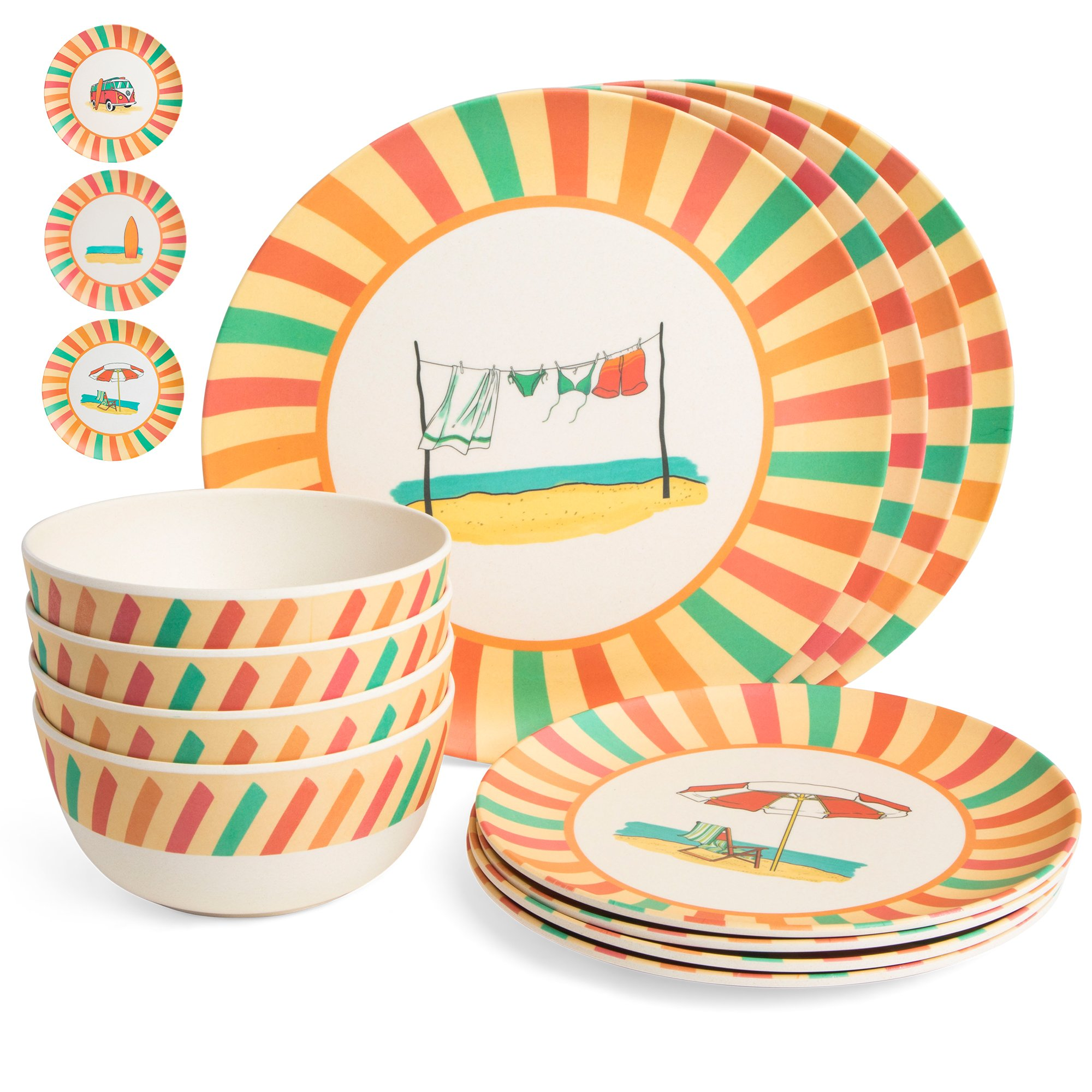 Bamboo Dinnerware Set - Camping, Kids and Family Reusable Dishes - 4 Small Plates, 4 Bowls, 4 Large Plates - Durable, Lightweight, Eco-Friendly, Non-Toxic - Casual, Retro Dishware, 12 Piece Sets