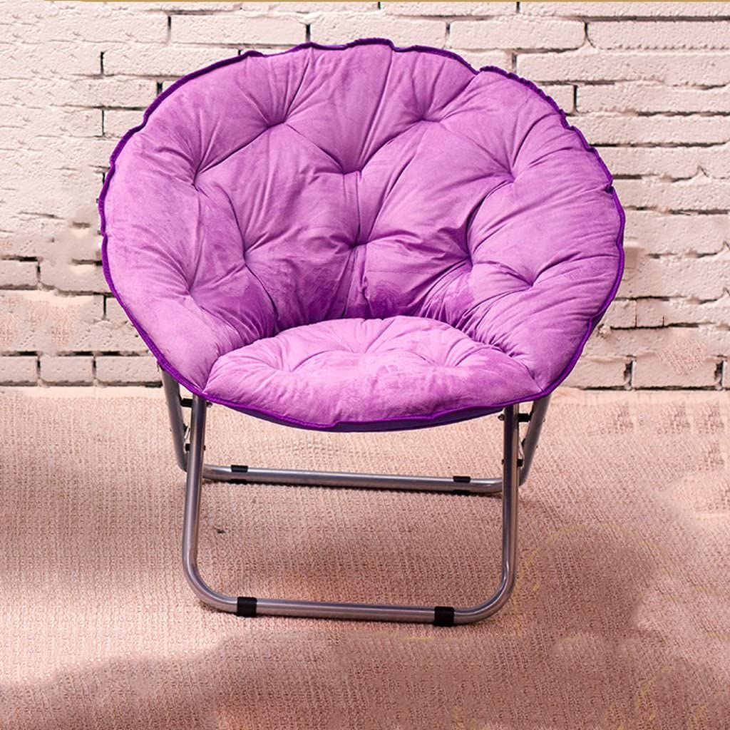 Chairs Single Moon Lazy Radar Lunch Break Folding Recliner Sun Home Decoration (Color : Lavender)