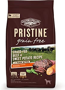 Castor & Pollux Pristine Grain Free Grass-Fed Beef and Sweet Potato Recipe with Raw Bites Dry Dog Food, 4 lbs.