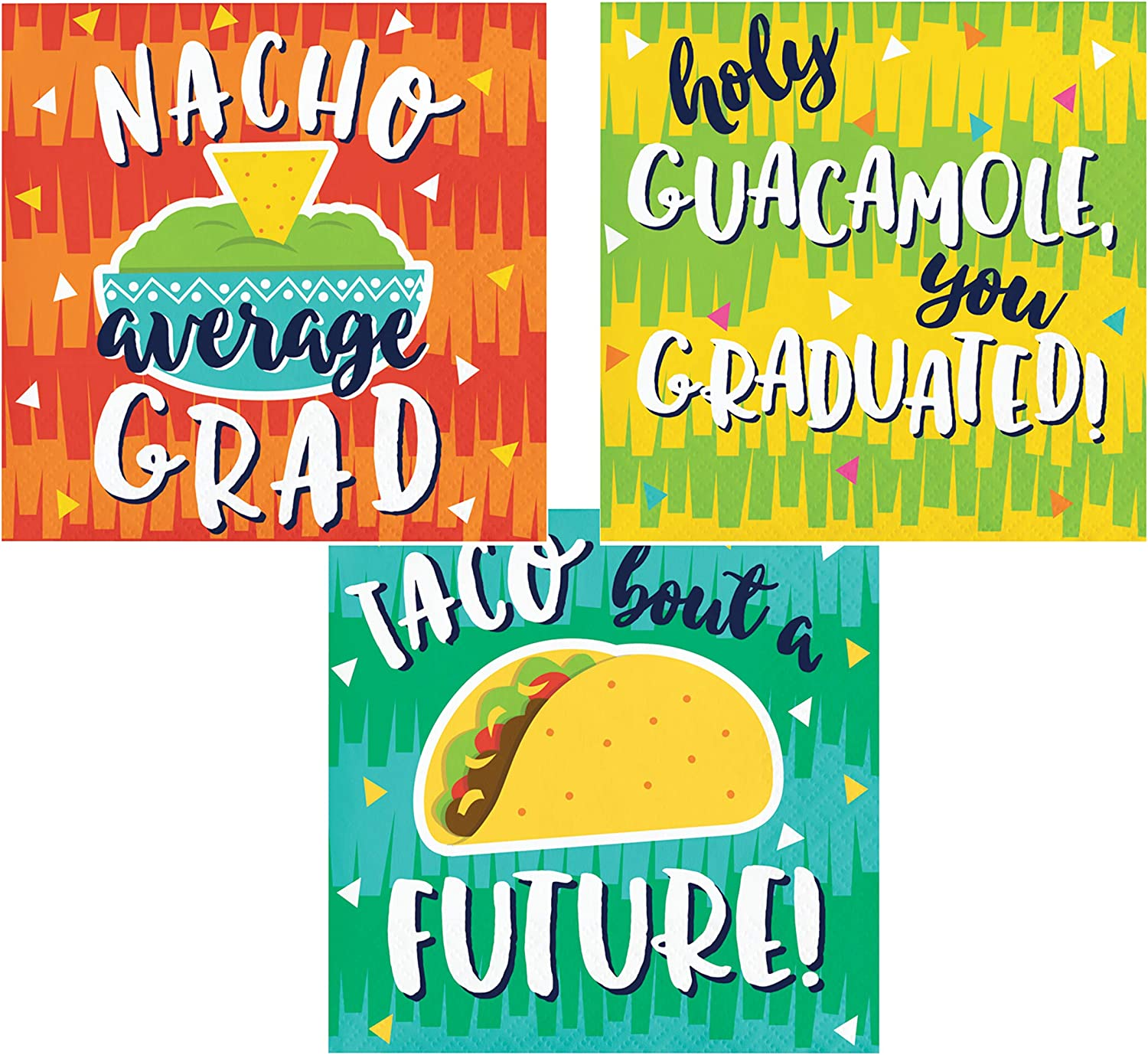 Fiesta Graduation Themed Cocktail Napkins Variety Beverage Paper Napkins Assorted 48 Count Set