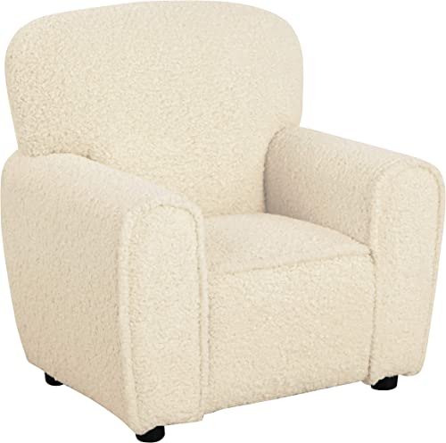 HomePop K7186-B292 Kids Club Chair-Faux Sheepskin Fur Natural