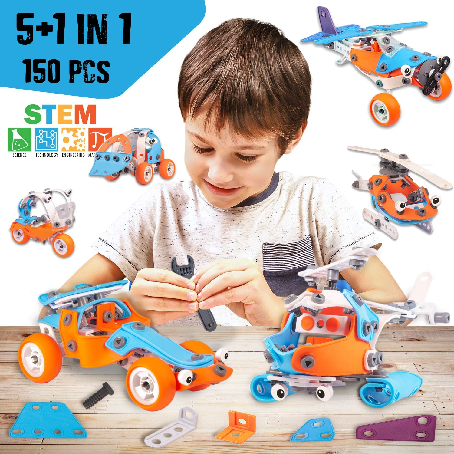 5+1in1 Education Learning Gift Best Building Set 6 7 8 9 10+ Yr Old boy Gifts 150 PCS Boys Toys Age 6-12 Build and Play Educational Engineering /& DIY Construction Kit STEM Building Toys for Boys