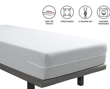 Tural – Funda de Colchón Elástica Rizo de Microfibra Tacto Seda. Talla 180 x 190/200 cm | Protector de colchón con Cremallera | para colchones de 30 ...
