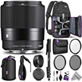 Sigma 30mm F1.4 Contemporary DC DN Lens Sony E Mount Cameras w/Advanced Photo Travel Bundle