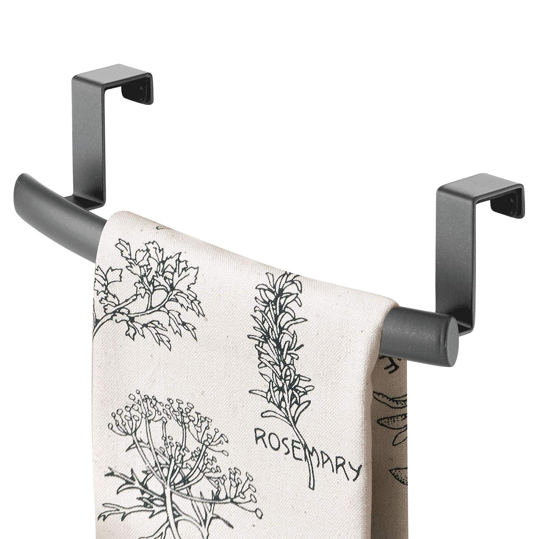 mDesign Porta asciugamani cucina – Porta strofinacci da appendere alle ante dei mobili – Appendi strofinacci senza forare il muro per bagno o cucina in metallo antiruggine – grigio MetroDecor