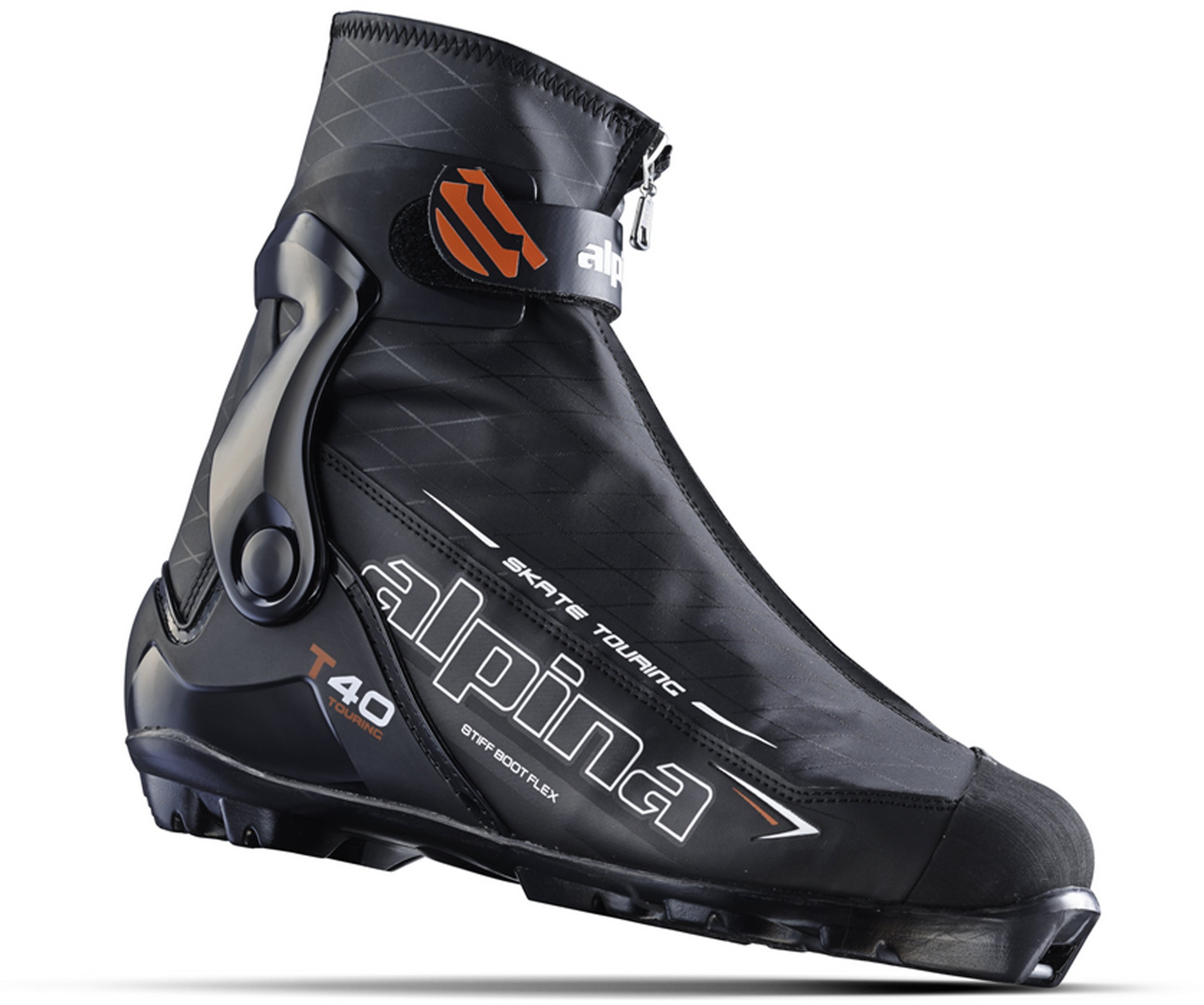 Alpina Sports T40 Skate Touring Cross Country Nordic Ski Boots, Euro 45, Black/White/Red by Alpina