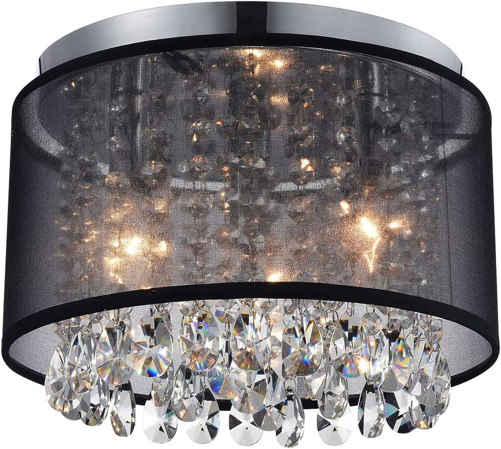 Black Mini Chandeliers Crystal Drum Gauze Ceiling Light Fixture 3-Light for Bedroom