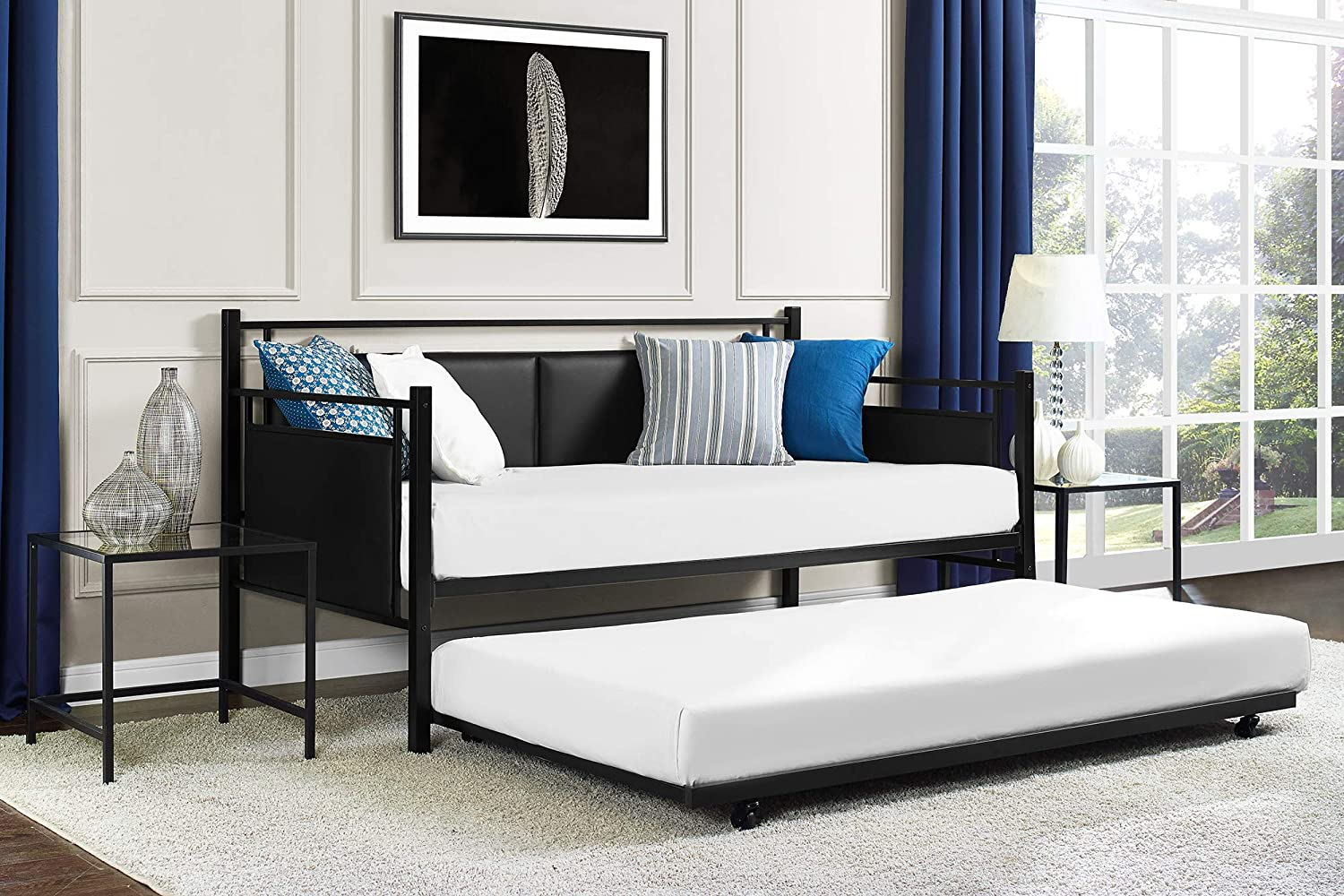 DHP Astoria Metal and Upholstered Daybed/Sofa Bed with Included Trundle, Twin Size Frame, Black