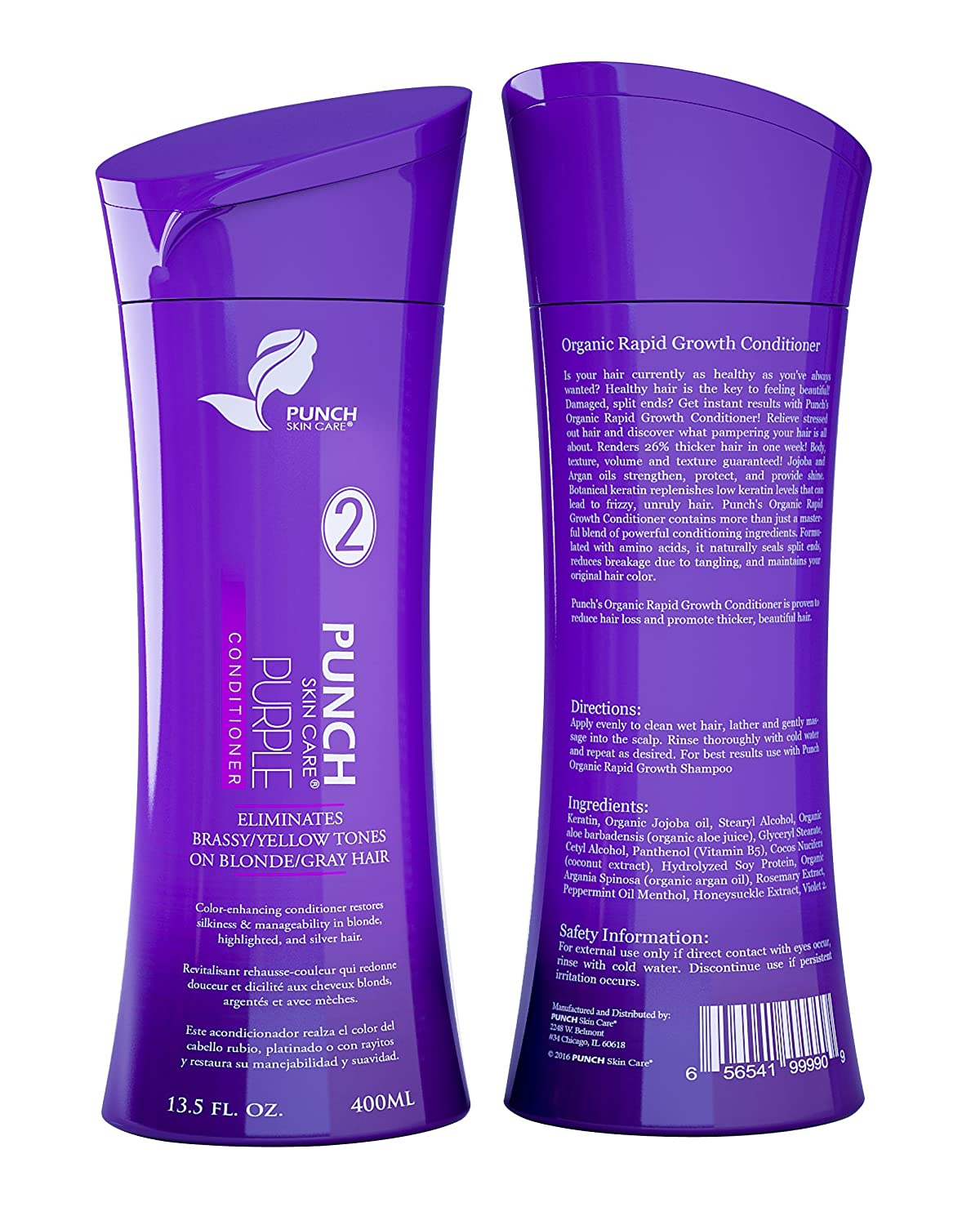 Purple Conditioner for Blonde Hair Color - Neutralizes Unwanted Tones like Brass and Yellow - Perfect for Blonde, Gray, Silver, White, Light Brown, Colour Treated Hairs - Violet Conditioner 13.5 fl oz