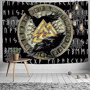 PNKJ Valknut Odin Raven Viking Tapestry Meditation Runes Ancient Art Norse Mythology Tapestry Wall Hanging Tapestry for Living Room Bedroom Decor,59.05''x51.18''