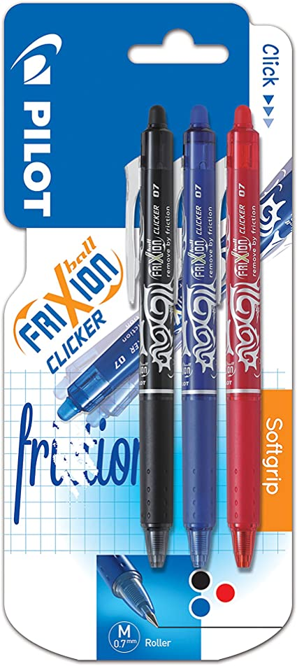 Pilot FriXion CLICKER Retractable 0.7mm Erasable Rollerball Pen Red Pack 3