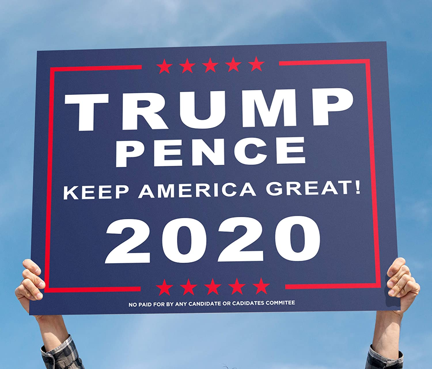 18 x 12 2020 Pence MAGA President Donald Trump with 15-inch Heavy Duty Metal Wire Stake Stand 2 Yard Sign Lawn Signage Keep America Great