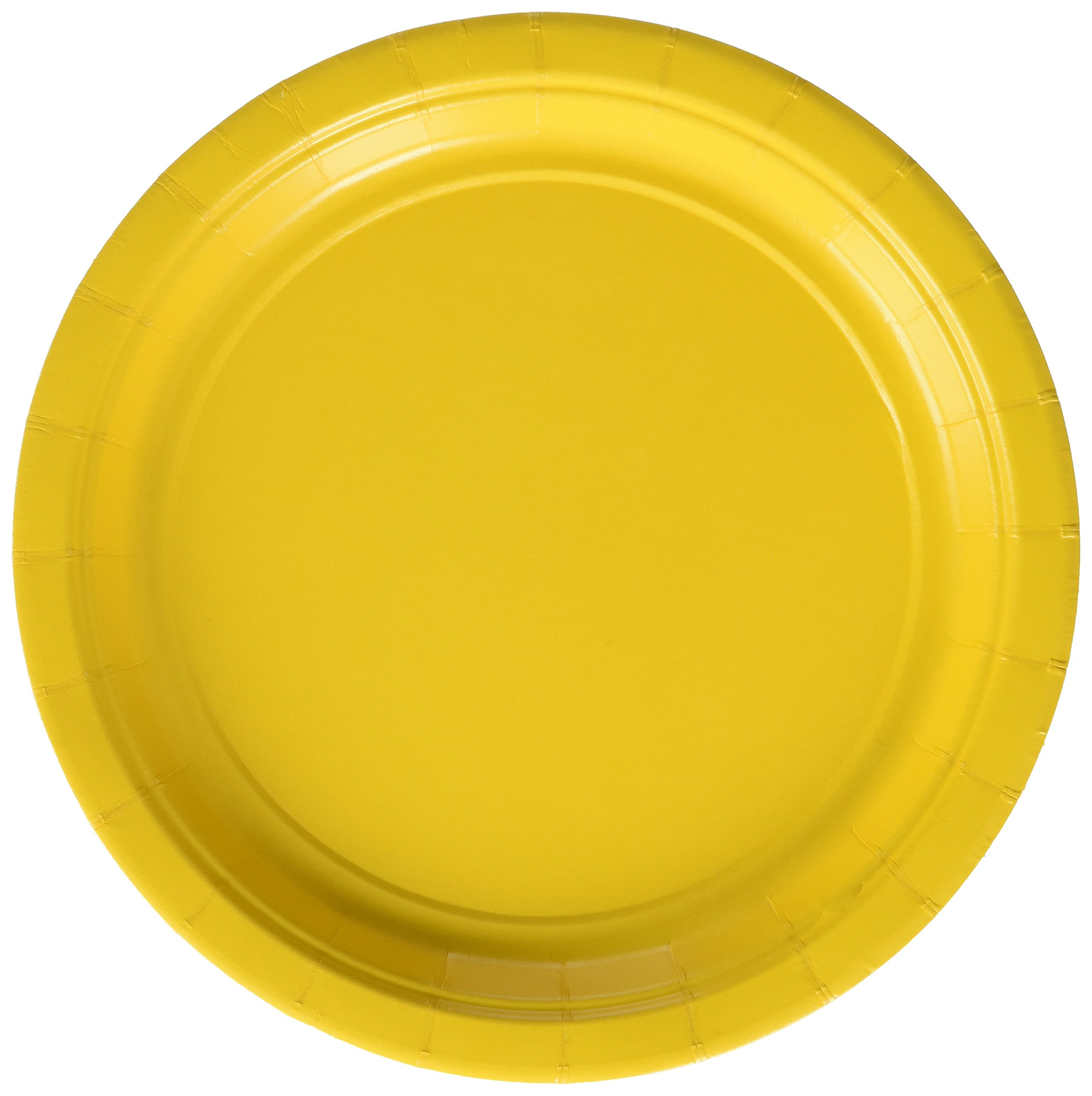 Amscan Durable Round Dessert Plates Big Bundle Party Tableware Paper, 7'', Pack of 50 Childrens, Yellow Sunshine, 7''
