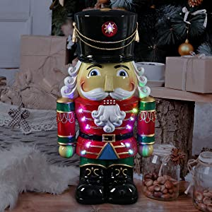 "Exhart Hand Painted Nutcracker Soldier w/Battery-Powered LED Uniform– Indoor/Outdoor Christmas Nutcracker w/Traditional Ceremonial Soldier Dress- Durable Weather-Resistant Resin, (10.5"" x 7.5"" x 19"")"