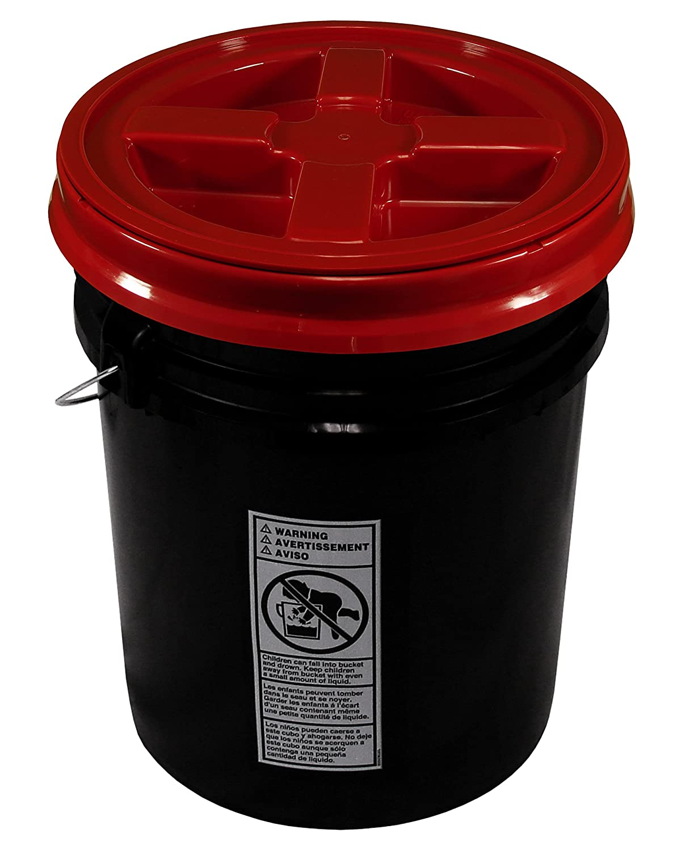 Black 5 Gallon 90 mil Bucket with Gamma Seal Lid (Black) API Kirk; Gamma
