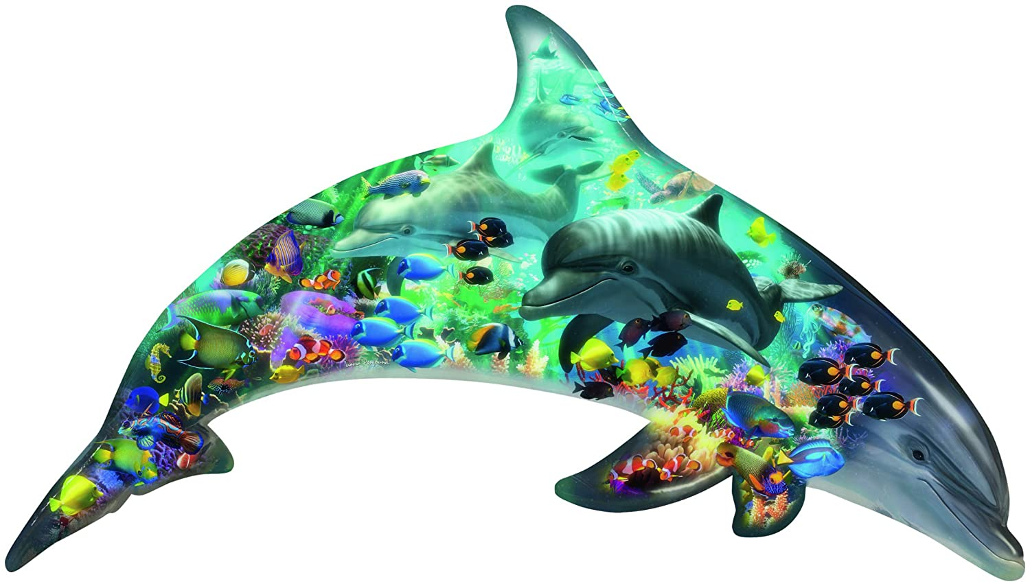 Buy Ravensburger Puzzles Dolphin Silhouette, Multi Color (862 Pieces ...
