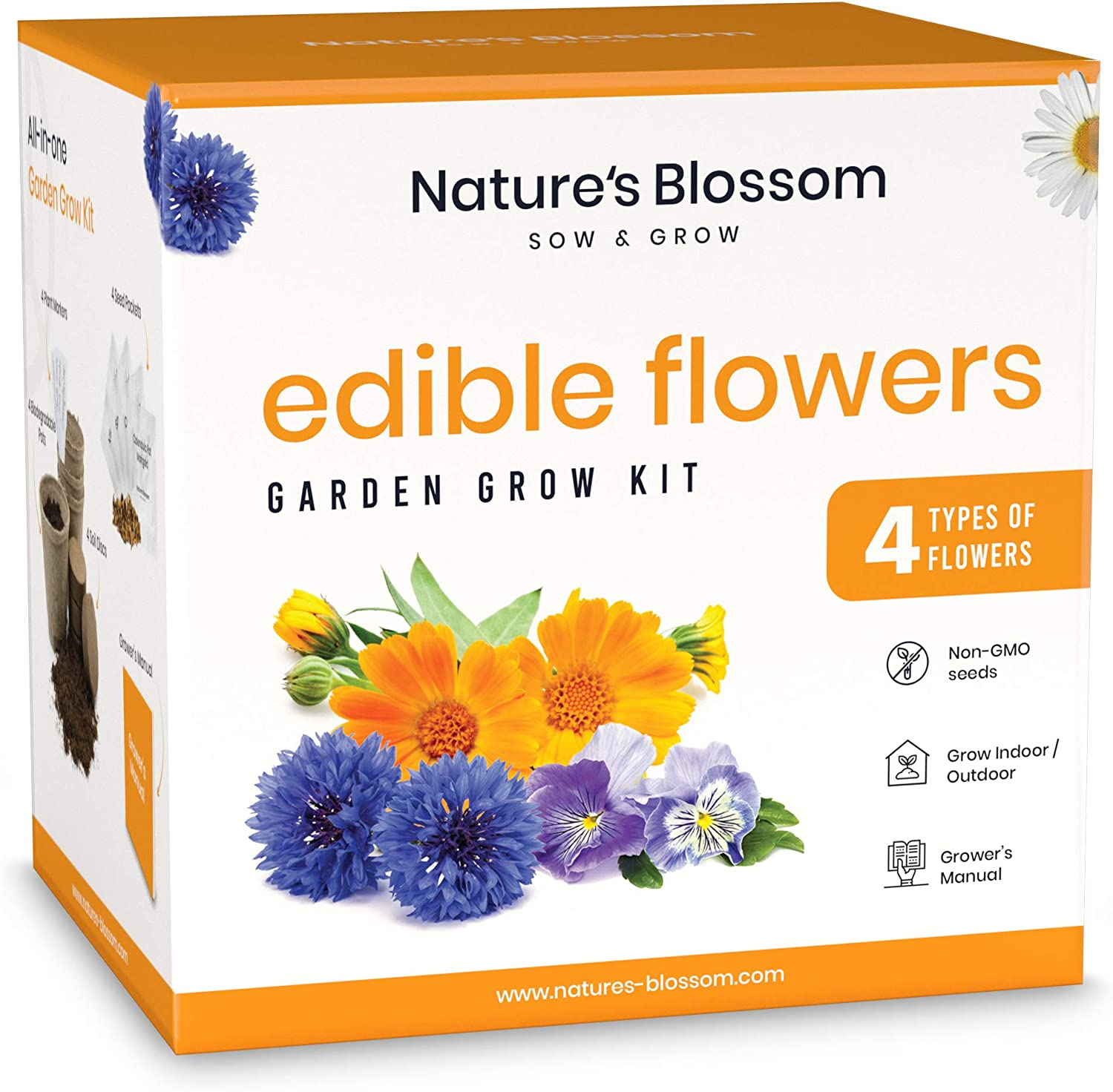 Nature's Blossom Edible Flowers Garden Kit - Complete Gardening with 4 Types of Culinary Flower Seeds, Soil, Pots, Labels, Guide. Indoor Gardening Gift Set for Men and Women.