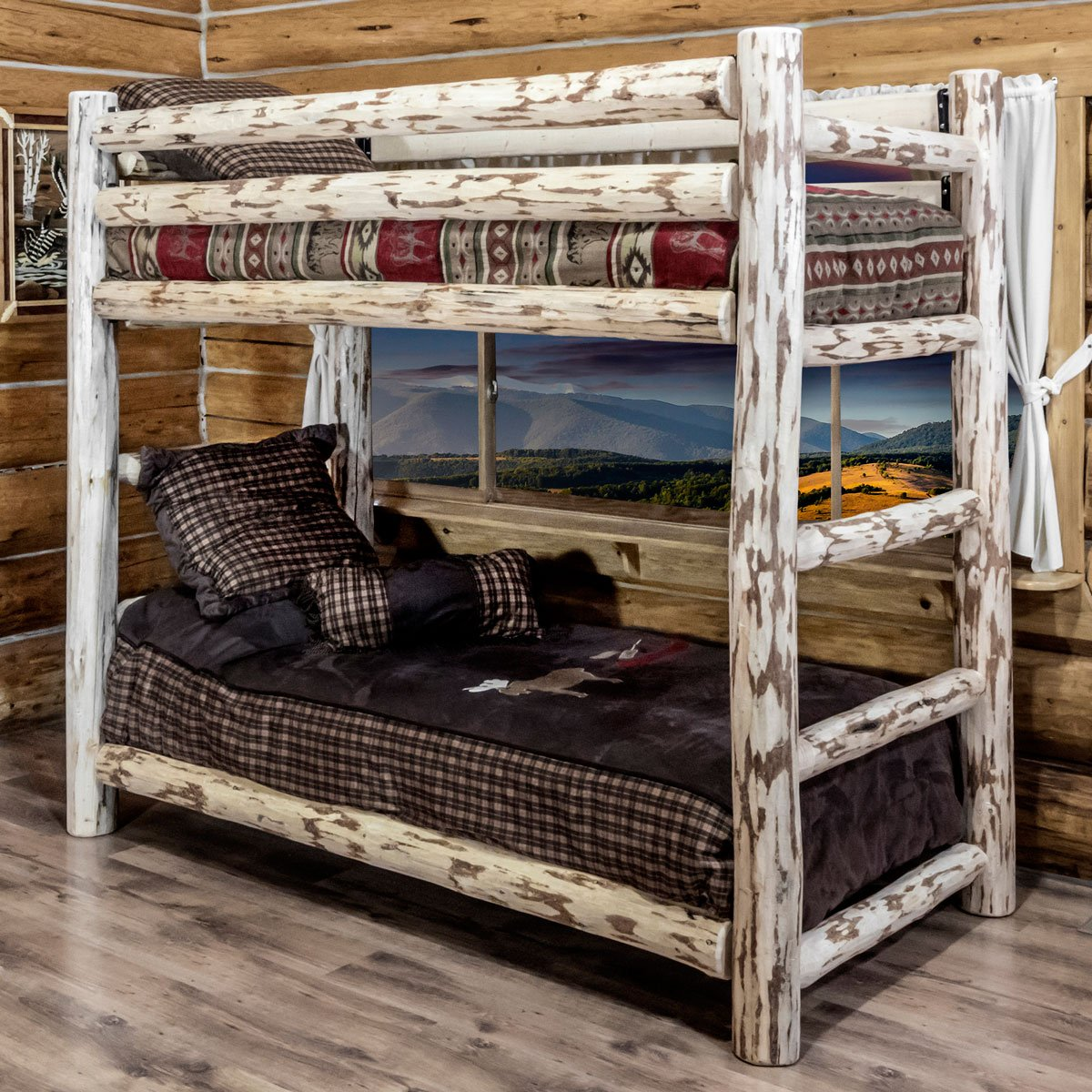 Unfinished Hand-Peeled Rustic Log Bunk Bed - Twin