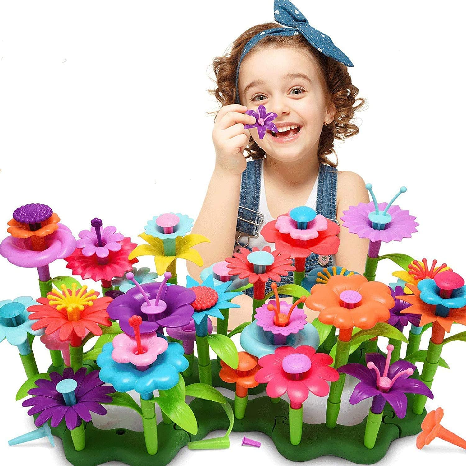 Zeesean Flower Garden Building Toys for 3, 4, 5, 6 Year Old Boy Girls Birthday Gifts Build A Garden Arts and Crafts Play Set 148 Pieces