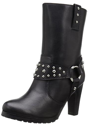 "Women's 10"" Harness Biker Boot Black Work Boot"