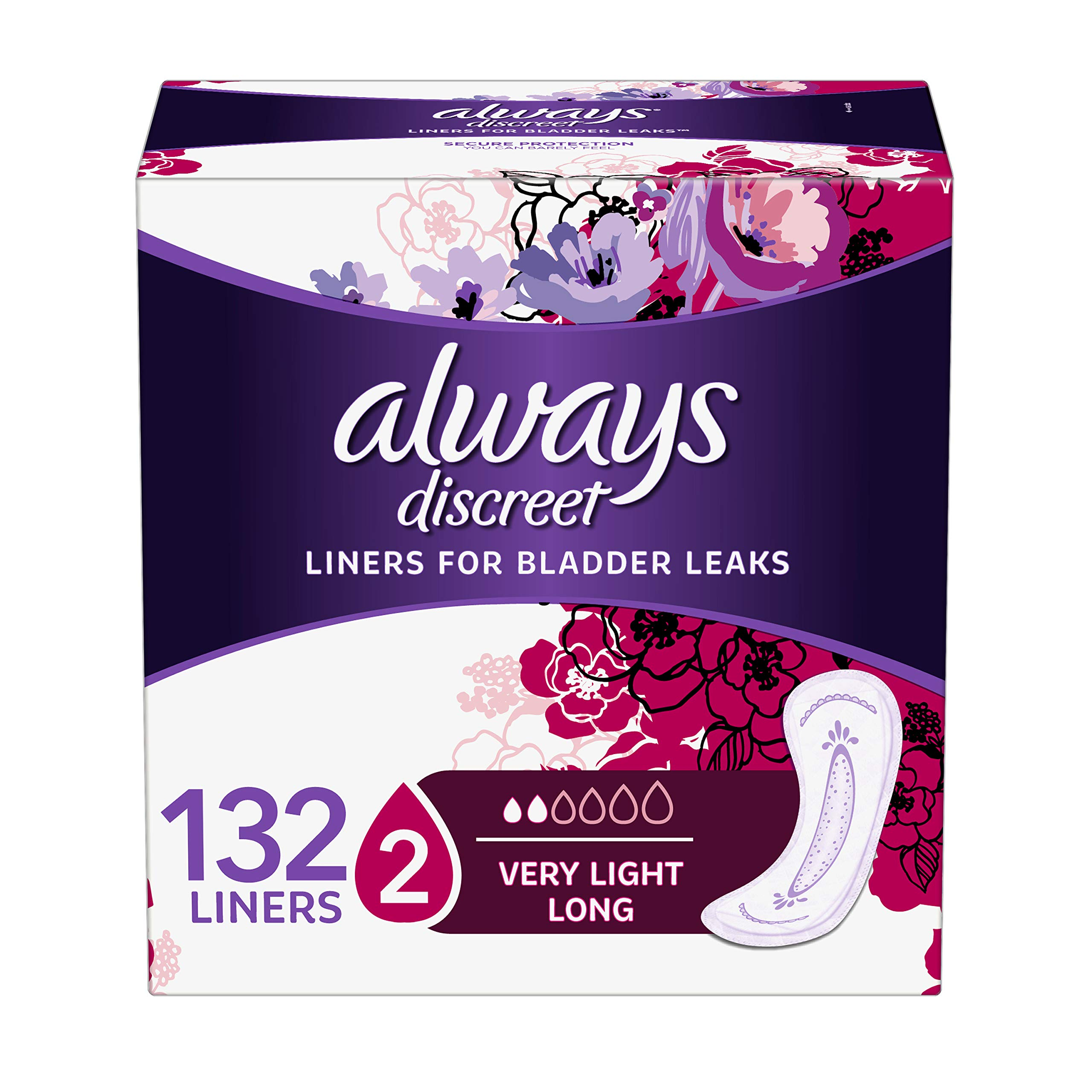 Always Discreet, Incontinence Liners for Women, Very Light, Long Length, 44 Count