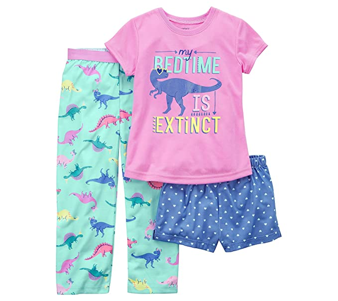 bf5f9080a8 Amazon.com  Carter s Girls  4-14 3-Pc. Dinosaur Pajama Set  Clothing