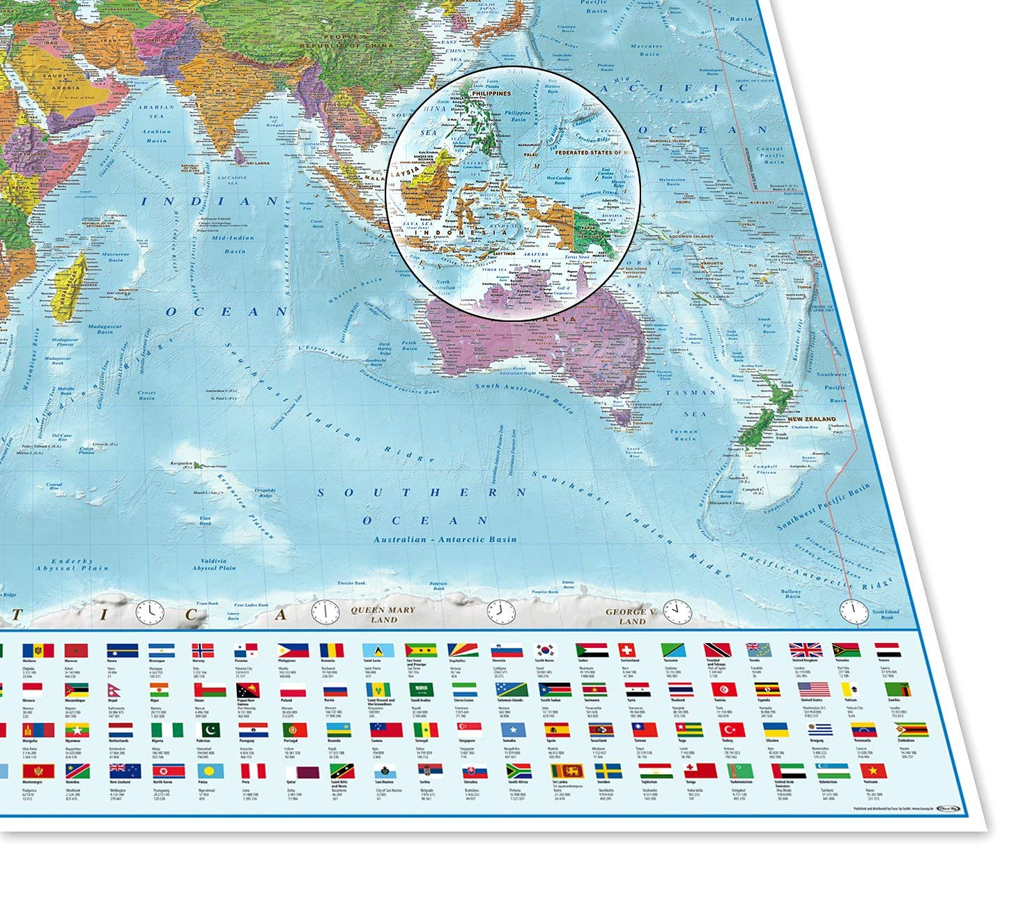 "55/""x39/"" World Map with flags XXL Poster MAPS IN MINUTES® 2017"
