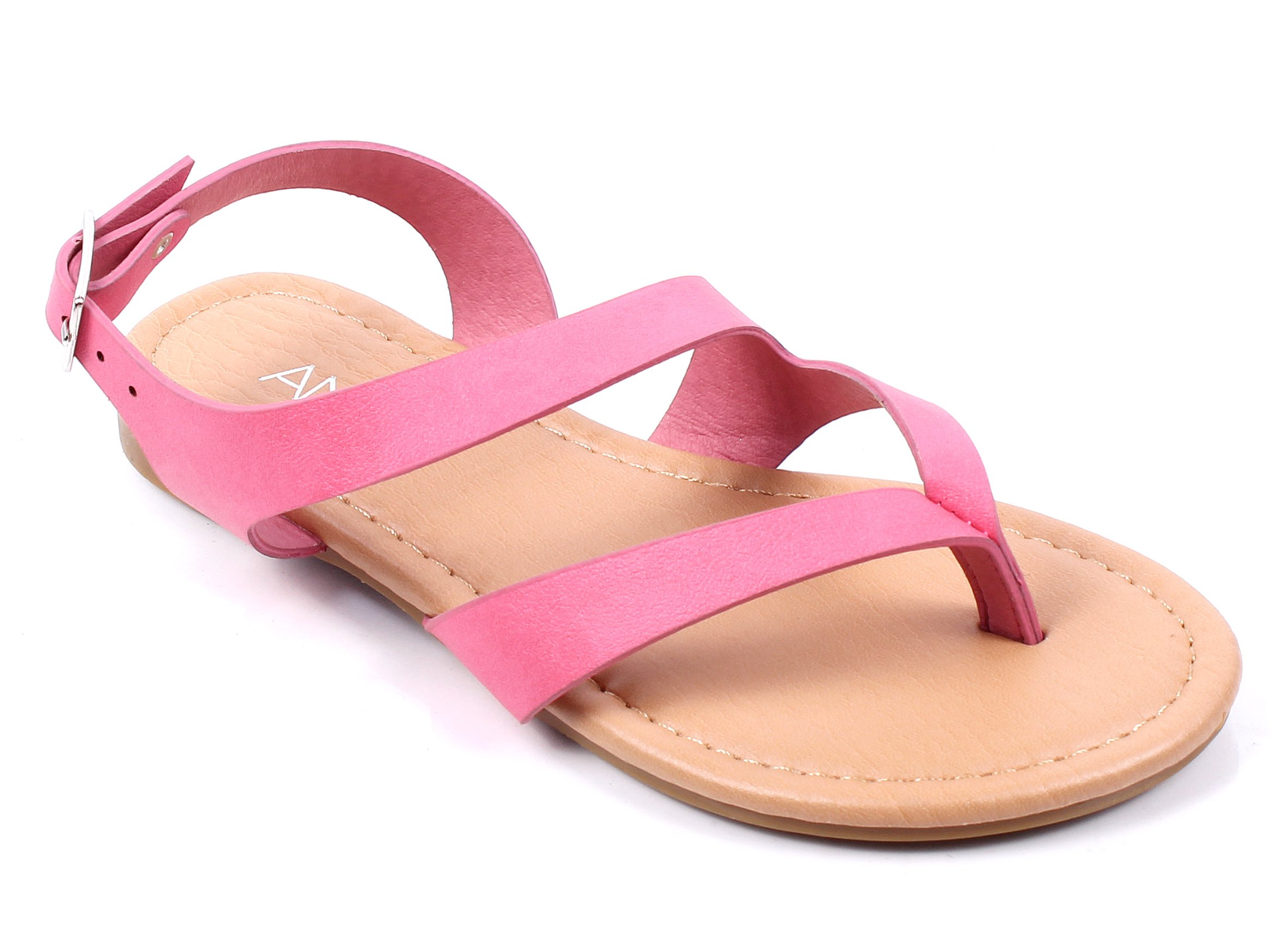 New Cute Slip on Kids Strappy Buckle Summer Sandals Girls Flats Youth Casual Shoes New Without Box (11, Fuchsia)