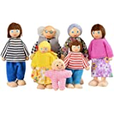 Kids B Crafty Wooden Dolls House Dolls Family Play Set Of 7 - Happy Family Imagination Birthday Present Toy For Children Toddlers