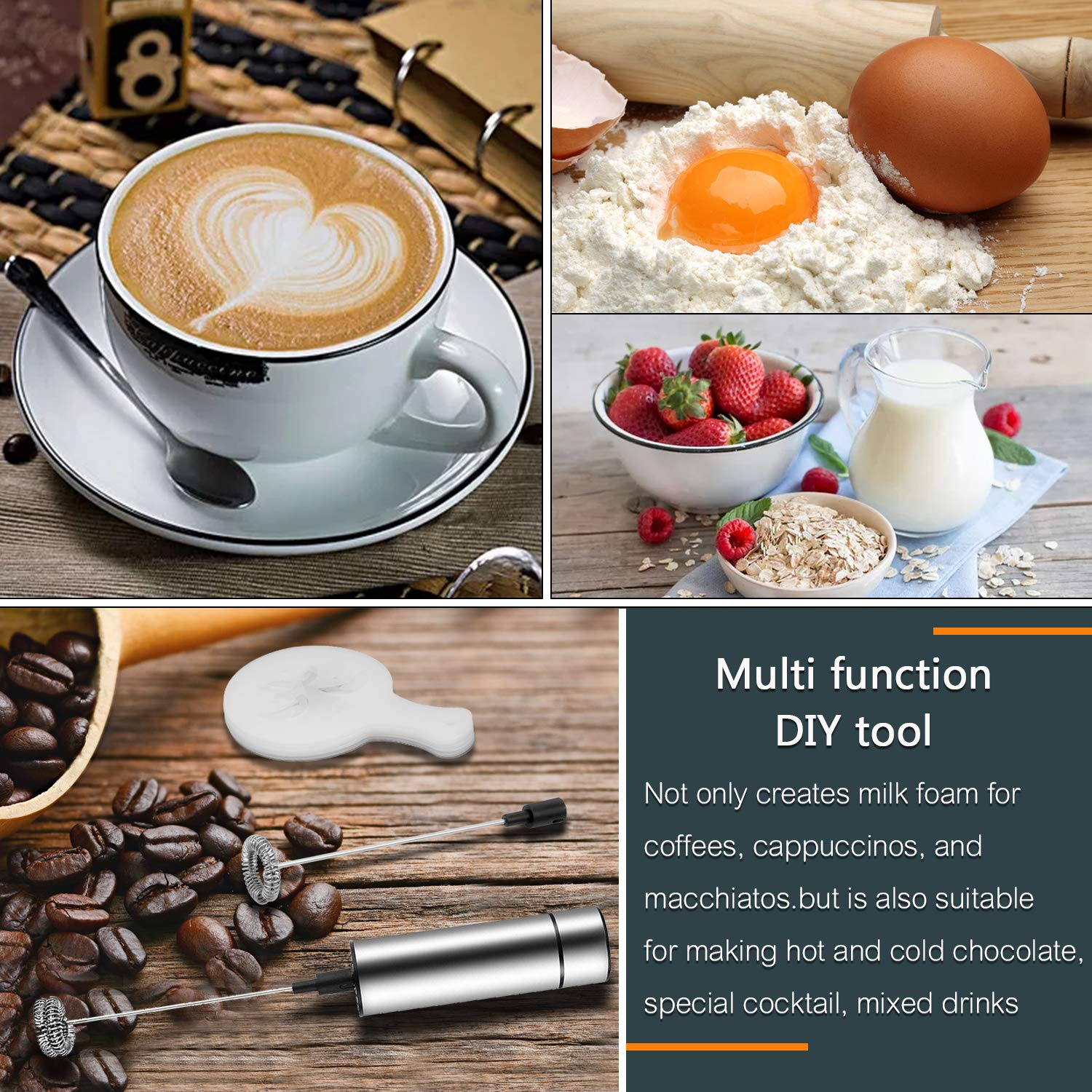 Portable Milk Frother, PEMOTech [3 in 1] Electric Milk Forther with Mix Spoon & 16 PCS Art Stencils, Handheld Frother Foam Maker with Double & Single Spring Whisk Head for Coffee, Cappuccino, Latte by PEMOTech (Image #4)