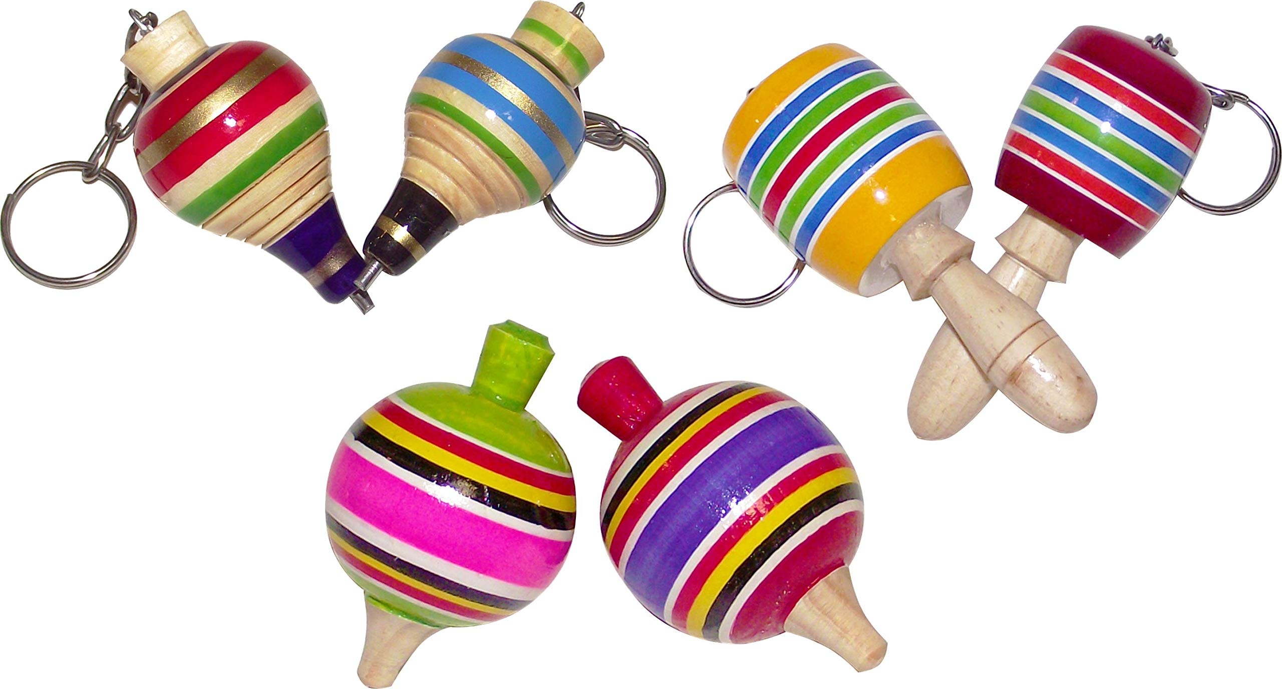 MoreFiesta Fine Mini Wooden Balero, Spin top and Trompo Keychain - Six Traditional Mexican Miniature Toys Box