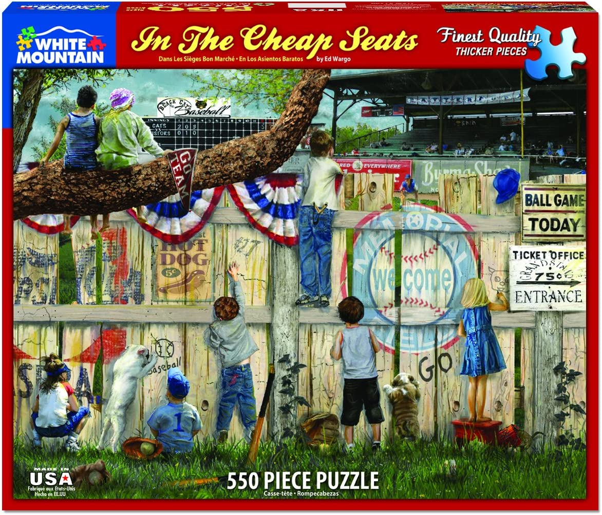 """White Mountain Puzzles in The Seats - Baseball Puzzle - 24"""" X 30"""""""