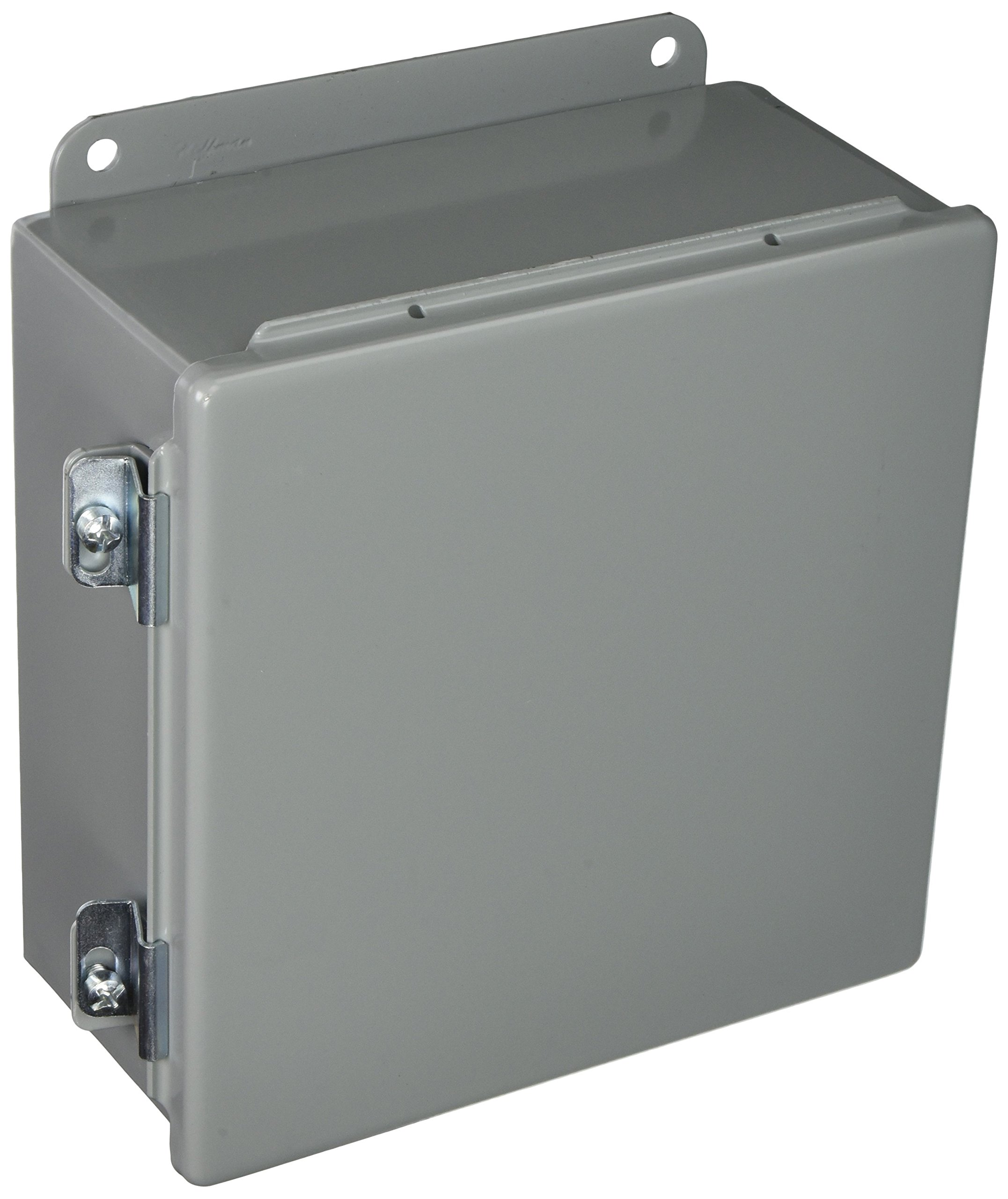 Hoffman A808CH J Box, NEMA 12 Hinged Cover, Steel, 8'' x 8'' x 4'', Gray