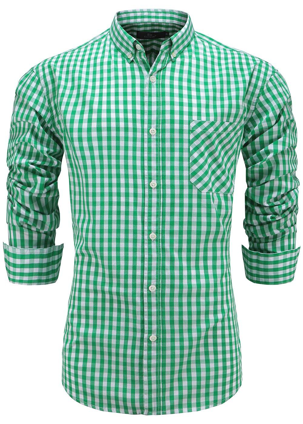 Emiqude Men's 100% Cotton Regular Fit Long Sleeve Button Down Plaid Dress Shirt Large Green