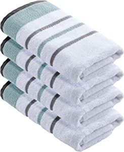 100% Turkish Cotton, Striped Hand Towel Set (16 x 30 inches) Oversized Decorative Luxury Hand Towels. Noelle Collection (Set of 4, Eucalyptus / Grey)
