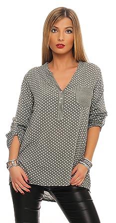 152 MississhopDamen Gepunktete Bluse Hemd mit Muster Langarm Shirt Top  Longshirt mit Glitzer Pailletten Details Oliv d374d8cbe6