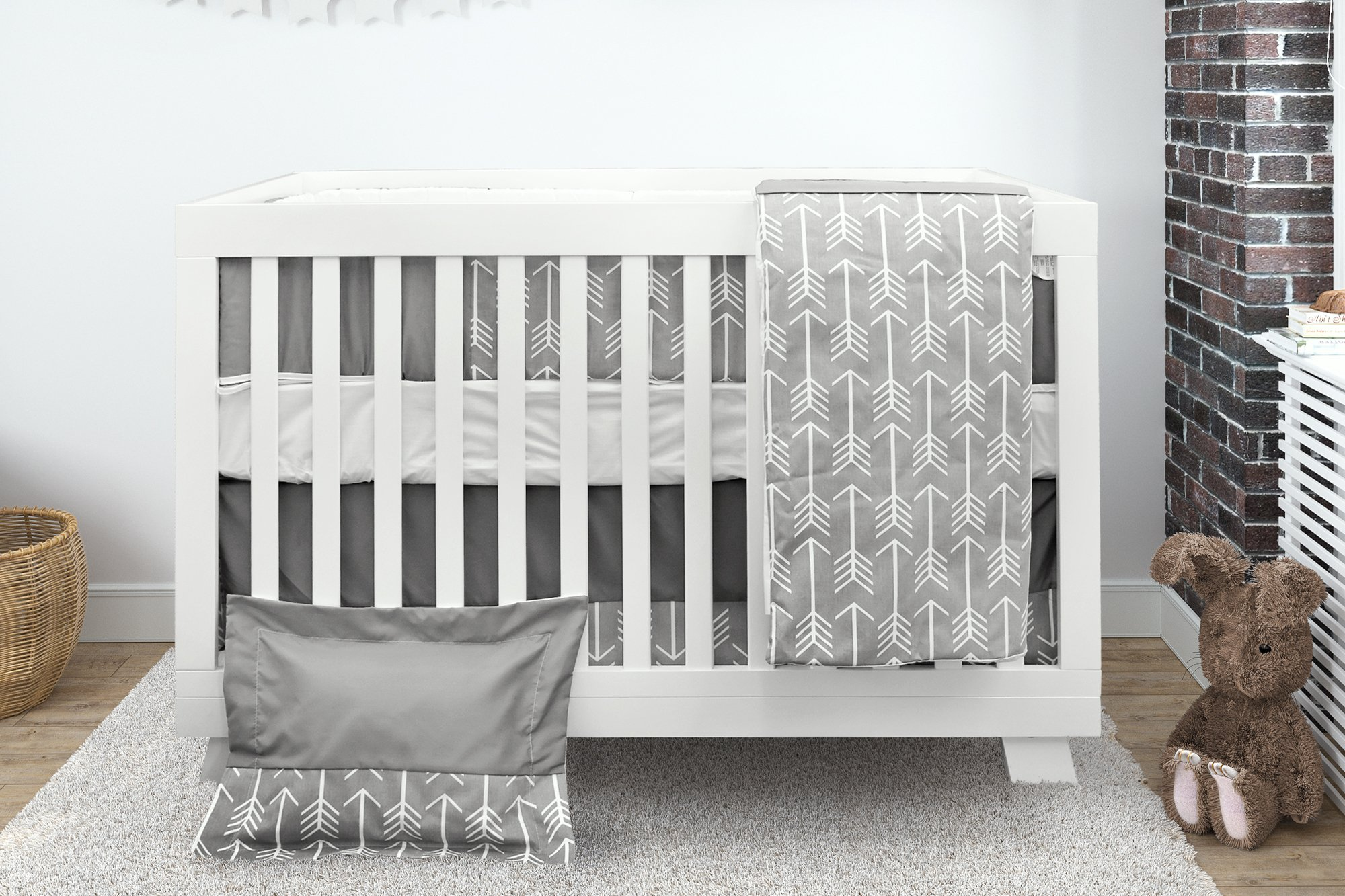 Bebelelo Baby Crib Bedding 7 Piece Set, Gray Arrow Design, Includes Fitted Sheet, Crib Comforter, Comforter Cover, Skirt, Bumper, Pillow Cover and Pillow, Perfect for Baby Girls and Boys by Bebelelo